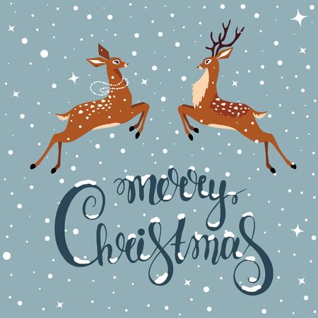 deer christmas illustration Vectores