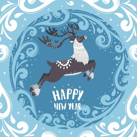 Merry Christmas and Happy New Year! Cartoon amazing fabulous north reindeer. Vector illustration Vectores