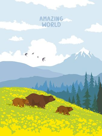 Beautiful view on a mountains and bear families walking across the valley. Amazing wallpaper. Vector illustration