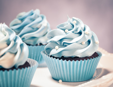 fancy cakes: Blue Cupcakes on a plate. Vintage style. Stock Photo