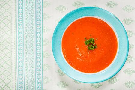 gazpacho: Homemade tomato and red pepper gazpacho soup.