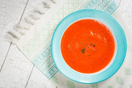tomato soup: Homemade tomato and red pepper gazpacho soup.