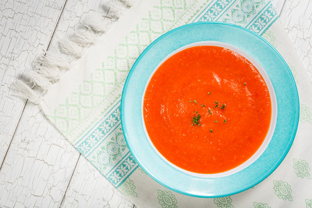 Homemade tomato and red pepper gazpacho soup.