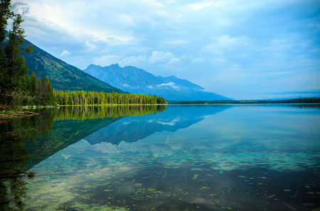 Leigh Lake Landscape near Jackson, Wyoming, USA Banco de Imagens