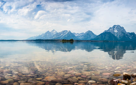 serene: Hermitage Point view across Jackson Lake with the Grand Tetons near Moran,  USA., wyoming