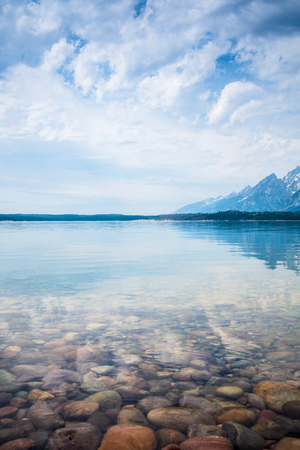 point of view: Hermitage Point view across Jackson Lake with the Grand Tetons near Moran,  USA., wyoming
