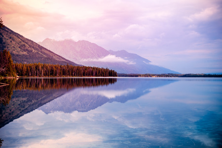 usa: Leigh Lake Landscape near Jackson, Wyoming, USA Stock Photo