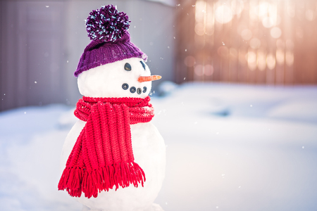 bonhomme de neige: Sourire bonhomme avec un chapeau pourpre et écharpe rouge