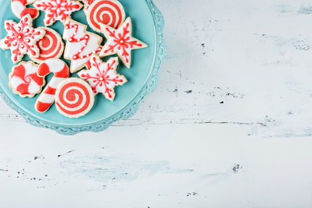 christmas blue: Red and White Christmas Cookies on a plate