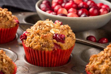 Freshly baked cranberry muffins with oatmeal crumble topping Banco de Imagens
