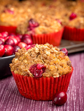 oatmeal: Freshly baked cranberry muffin with oatmeal crisp topping