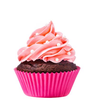 Ein rosa Kuchen auf einem weißen Hintergrund. Standard-Bild - 57169959
