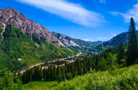 wasatch: Summertime in Little Cottenwood Canyon in the Wasatch Range of the Rocky Mountains, Utah.