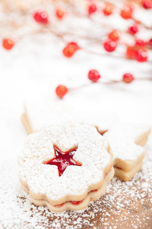 icing sugar: Christmas Linzer cookie with powdered icing sugar
