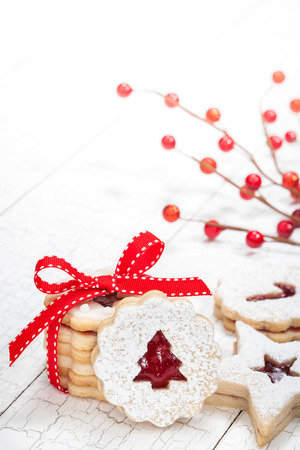 Christmas tree linzer cookies