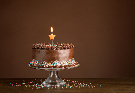 hundreds: Chocolate birthday cake with colorful sprinkles and candles over a brown background.