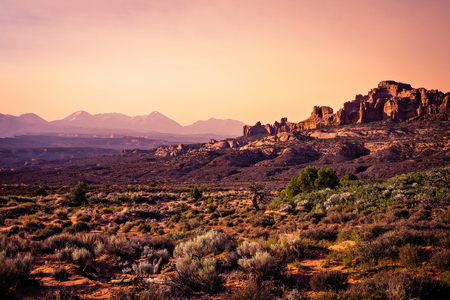 Sunset from Panorama Point in Arches National Park, Moab, Utah.