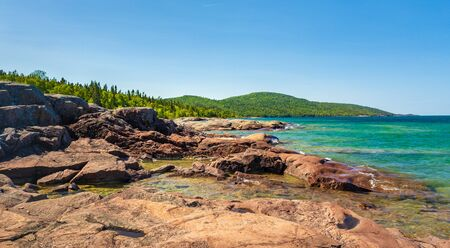 Scenic Landscape View from the Under the Volcano Trail along the beautiful rocky coast of Lake Superior at Neys Provincial Park, Ontario, Canada Imagens