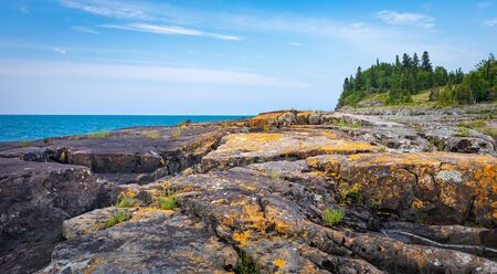 colorful Lichen grow on the stones on the Tee Harbour Trail hike in Sleeping Giant Provincial Park, Ontario, Canada Stok Fotoğraf