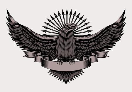Illustratie van embleem met adelaar en pijlen. Zwart-wit stijl.