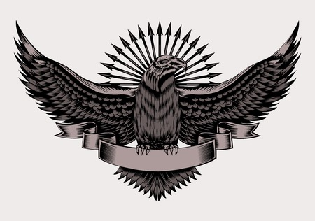 eagle badge: Illustration of emblem with eagle and arrows. Black and white style.