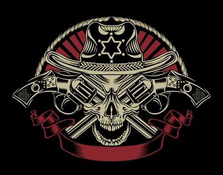 총을 가진 보안관의 두개골의 그림입니다.