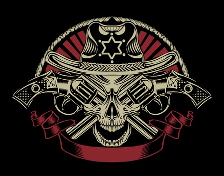 western theme: Illustration of Sheriffs skull with guns.