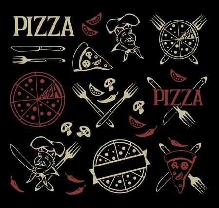 피자 아이콘 및 디자인 요소 집합입니다.