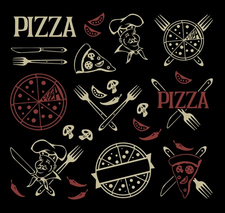 Set of pizza icons and design elements. Illustration