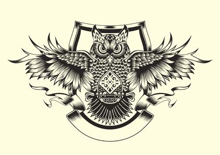 buhos: Ilustraci�n de b�ho. Estilo blanco y negro.