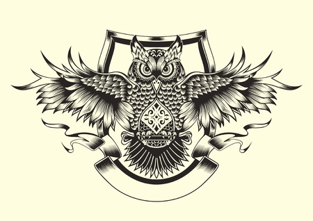 Illustration of owl. Black and white style.