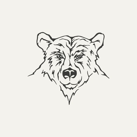 severe: illustration of bear. Black and white style Illustration