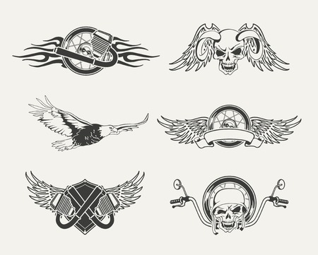 motor bike: Set of motorcycle emblems, badges, labels and designed elements.