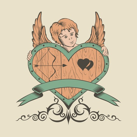 illustation: Illustation of Valentines Day card with heart and Cupid.