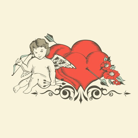 bowstring: Illustation of Valentines Day card with Cupid, two hearts and flowers.