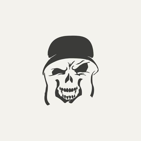 illustration of skull in helmet. Black and white style Vector