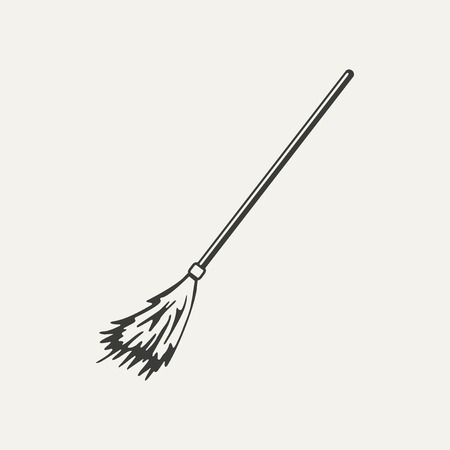 broomstick: illustration of broomstick. Black and white style