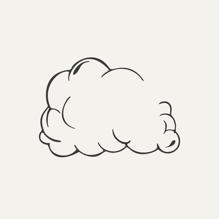 illustration of cloud of dust. Black and white style