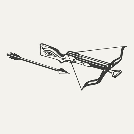 bowstring: illustration of crossbow. Black and white style Illustration