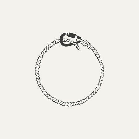 carabineer: illustration of carabiner with rope. Black and white style