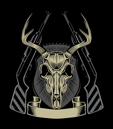 weapons: Illustration of deer skull with weapons. Illustration