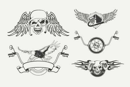 exhaust pipe: Set of motorcycle emblems, badges, labels and designed elements.