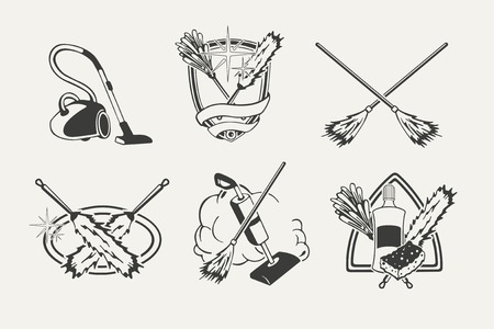 mop: Set of cleaning emblems, badges, labels and designed elements.