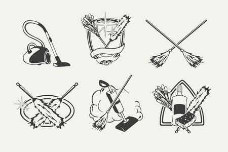 dweilen: Set van het schoonmaken van emblemen, badges, labels en ontworpen elementen.