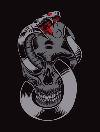 Illustration of skull with cobra. Stock Illustratie