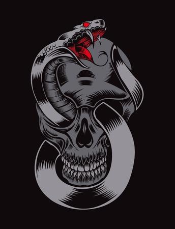 Illustration of skull with cobra. Vector