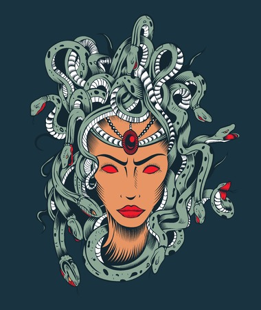 Illustration of Medusa Gorgon head with poison snakes.
