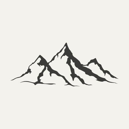 dessin noir et blanc: illustration de montagnes. Le style noir et blanc Illustration