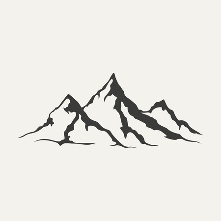 snow mountains: illustration of mountains. Black and white style