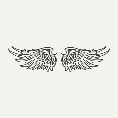 illustration of wings. Black and white style Vector